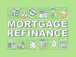 banner de conceitos de palavras de refinanciamento de hipotecas