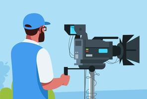 ilustração vetorial semi plana de cameraman