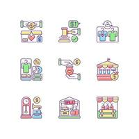 venda conjunto de ícones de cores rgb