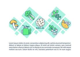 ícone do conceito de produtos orgânicos com texto vetor