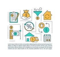 ícone de conceito de benefício de refinanciamento de hipotecas com texto vetor