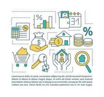 ícone do conceito de serviços hipotecários com texto