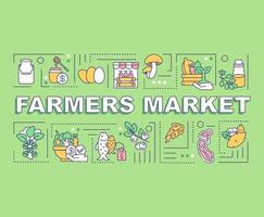 banner de conceitos de palavras de mercado de fazendeiros