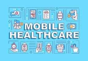 banner de conceitos de palavras de saúde móvel
