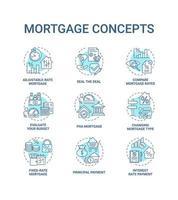 conjunto de ícones de conceito de hipoteca vetor