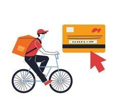 correio usando uma máscara fazendo uma entrega em uma bicicleta vetor