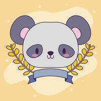 cabeça de urso panda bebê kawaii com plantas vetor