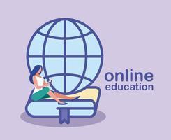 mulher procurando informações na web, educação online vetor
