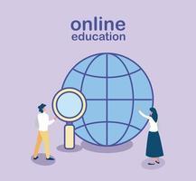 pessoas que procuram informações na web, educação online vetor