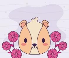 cabeça de hamster kawaii com flores vetor