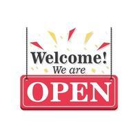 bem-vindo, estamos abertos banner com design de vetor de ícone de confete