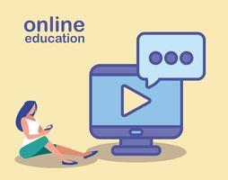 mulher com computador desktop, educação online vetor