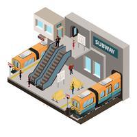 Isométrico do metrô vetor