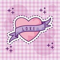 coração fofo com fita, estilo patch vetor