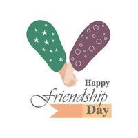 feliz dia da amizade com desenho de vetor de ícone de estilo detalhado de aperto de mão