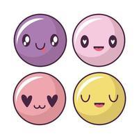 conjunto de ícones de rosto feliz, emoticons no estilo kawaii vetor