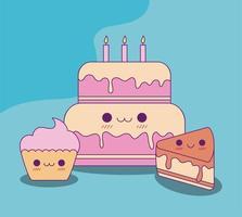 bolo kawaii e desenho vetorial de cupcake vetor