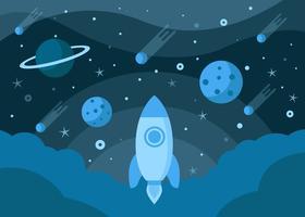 Cosmos com fundo de foguetes vetor