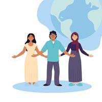 Desenhos animados de mulheres e homens muçulmanos indianos com design de vetor de esfera mundial