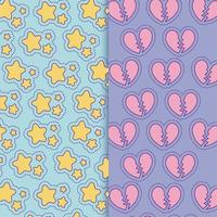 design de vetor de fundo de estrelas e corações partidos
