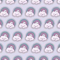 padrão com arco-íris e nuvens, estilo patch vetor