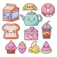conjunto de ícones de comida no estilo kawaii vetor