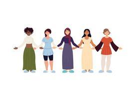Desenho vetorial de desenhos animados de mulheres negras muçulmanas e indianas vetor