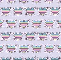 padrão com coração colorido, estilo patch vetor