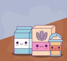Desenho vetorial de caixa de leite de farinha kawaii e caneca de café vetor