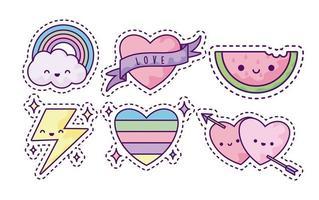 conjunto de patches da moda, ícones de desenhos animados divertidos vetor