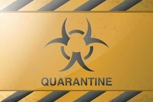 bloqueio de coronavírus com sinal de risco biológico vetor