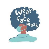 mulher usando máscara facial, prevenção do coronavírus vetor