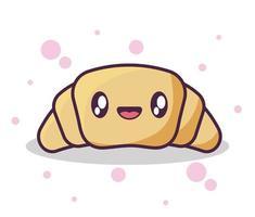 pão de croissant delicioso estilo kawaii vetor