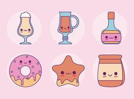 conjunto de comida kawaii desenho vetorial de desenhos animados vetor