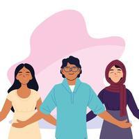 mulheres muçulmanas indianas e desenho vetorial de desenhos animados de homem vetor