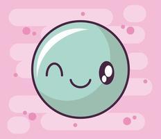 ícone de cara feliz, emoticon estilo kawaii vetor