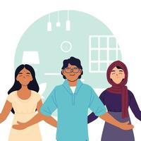 Desenhos animados de mulheres muçulmanas indianas e homens em frente ao design de vetor de sala de casa
