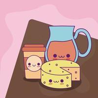 jarra de suco kawaii caneca de café e desenho vetorial de queijo vetor