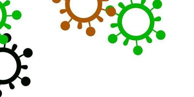 pano de fundo de vetor verde e vermelho claro com símbolos de vírus.