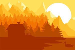 casa da floresta perto das montanhas vetor