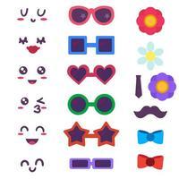 criador de emoticons engraçados, conjunto de construtor vetor