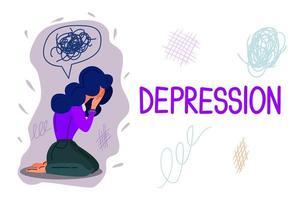 modelo de vetor de banner desenhado à mão depressão