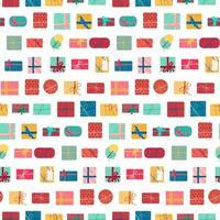 caixas de presentes de natal com fitas padrão sem emenda vetor