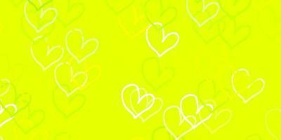 fundo vector verde e amarelo claro com corações.