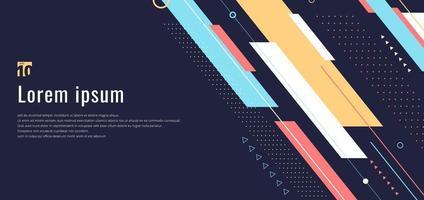 banner web design template dinâmico padrão geométrico listras diagonais linha elementos em fundo azul