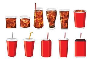 ilustração vetorial conjunto de garrafa e copo de refrigerante vetor