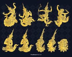 vetor linha arte tradicional da Tailândia, ilustração vetorial