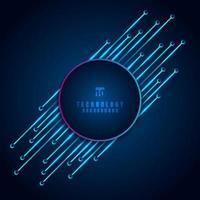 abstrato moderno tecnologia digital conceito círculo frame com placa de circuito elemento diagonal sobre fundo azul. vetor