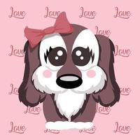 desenho vetorial de ilustração de cachorrinho de amor terno