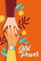 pôster de poder feminino com mãos inter-raciais cumprimentando